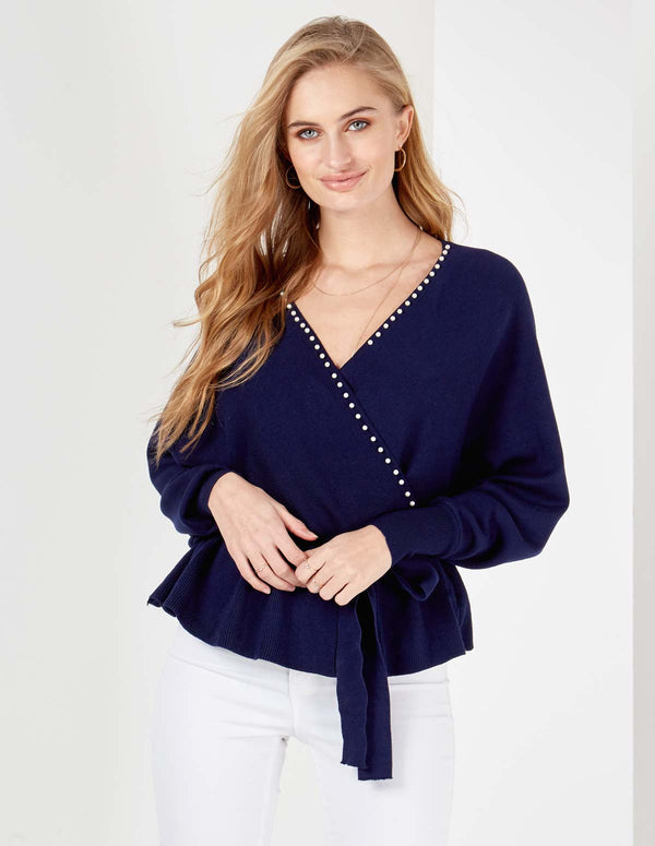 DALINA - Double V Pearl Cross Over Peplum Navy Jumper