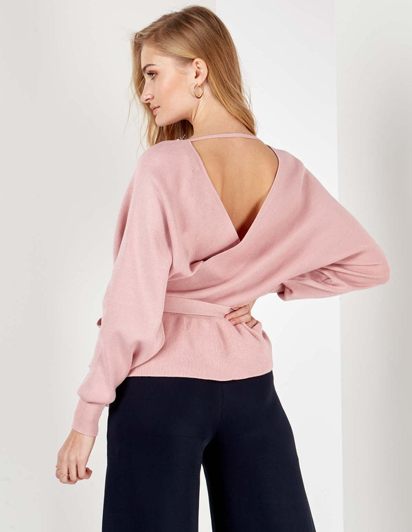 DALINA - Double V Pearl Cross Over Peplum Pink Jumper