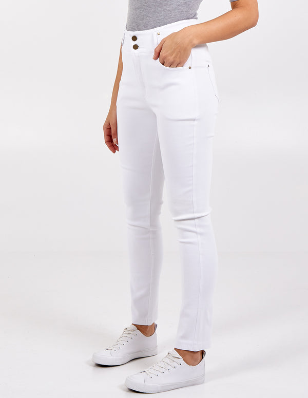 CLAUDIA - Skinny Fit High Waisted Button Trousers