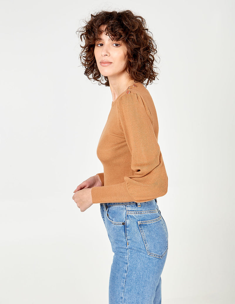 SUMAYA - Button Shoulder Balloon Sleeve Jumper