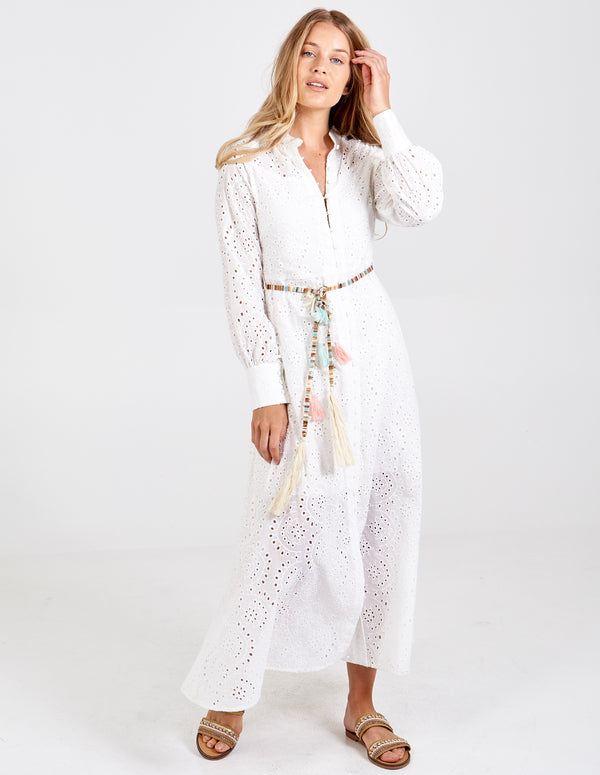 SUMAYYA - Belted Cotton Shirt Dress