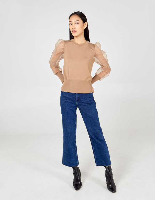ESTHER - Crew Neck Sheer Balloon Sleeve Jumper