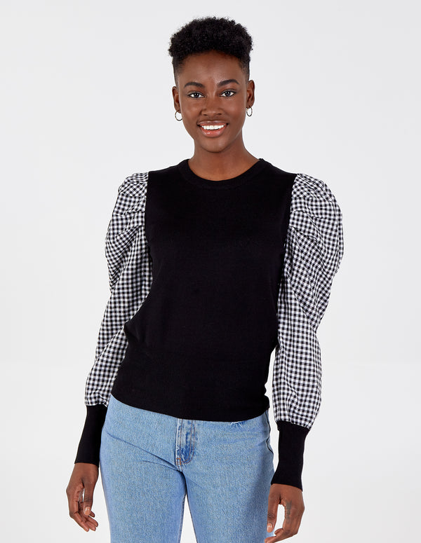 HUDA - Gingham Puff Sleeve Top