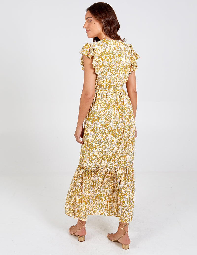KATELYN - Frill Sleeve Tiered Wrap Maxi Dress