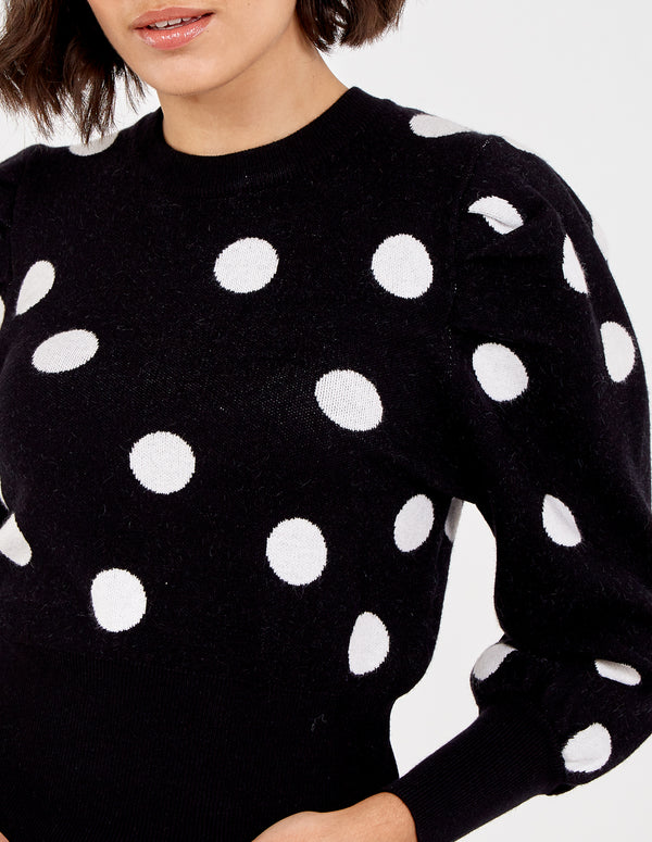AMALIA - Puff Sleeve Polka Dot Jumper