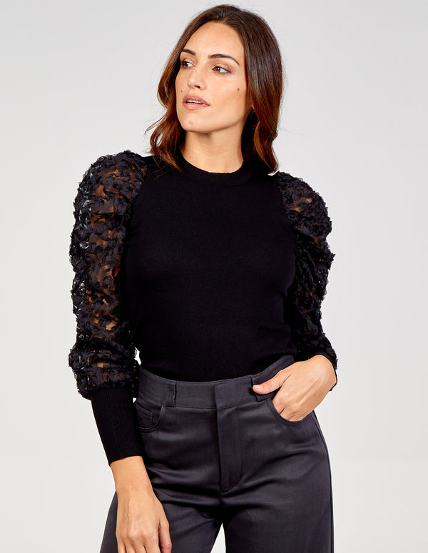 SILVIA - Lace Mesh Sleeve Jumper