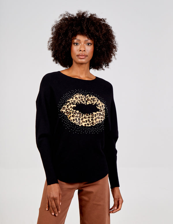 ROSARIA - Lips embellished Oversized Jumper