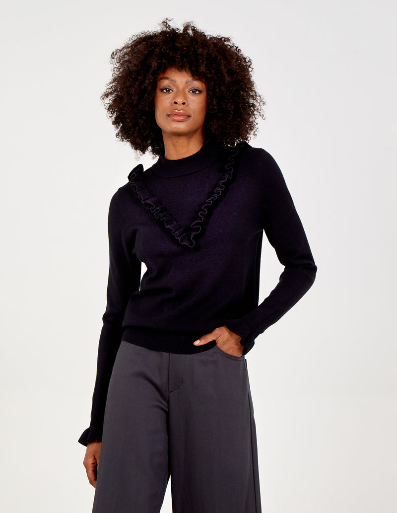 DOLORES - Frill Front Trim High Neck Jumper