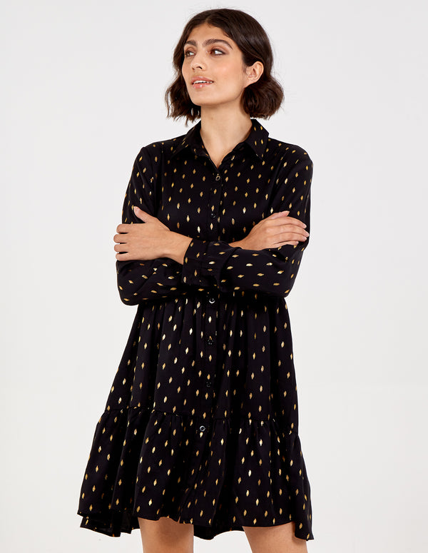 ROMINA - Gold Spot Tiered Shirt Dress