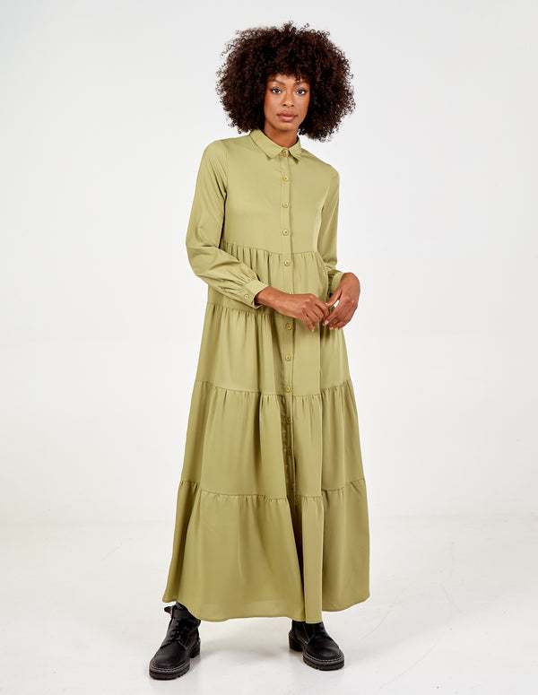 ROSINA - Long Sleeve Tiered Maxi Shirt Dress