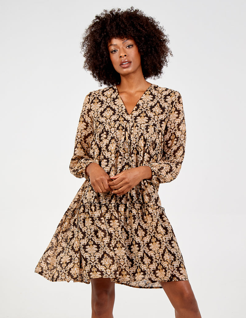DARIA - Tiered Oversized V Neck Dress