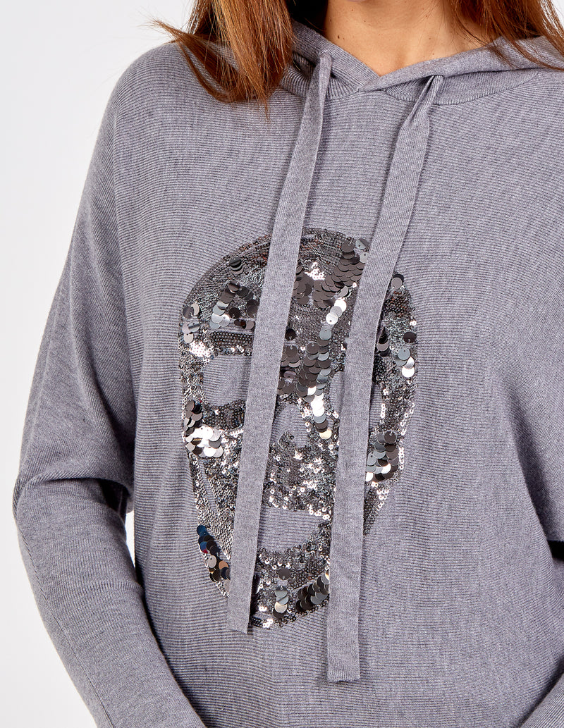 ALIZA - Hooded Sequin Skull Sweatshirt