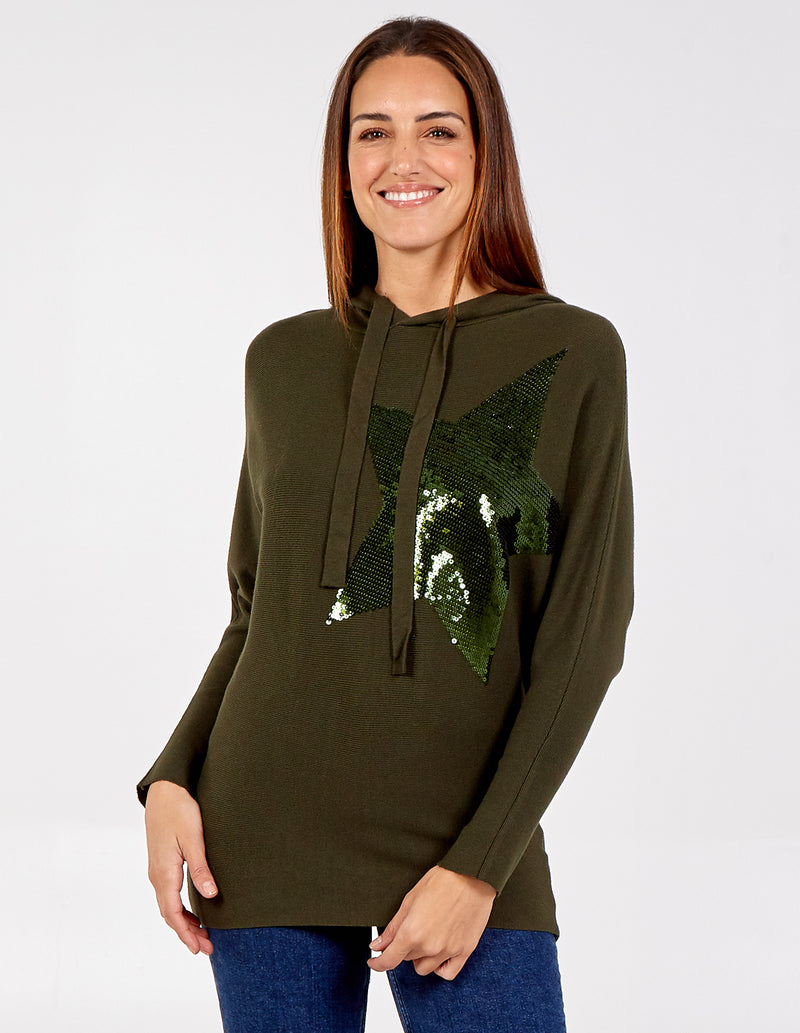 YASMIN - Sequin Star Hooded Long Sleeve Jumper