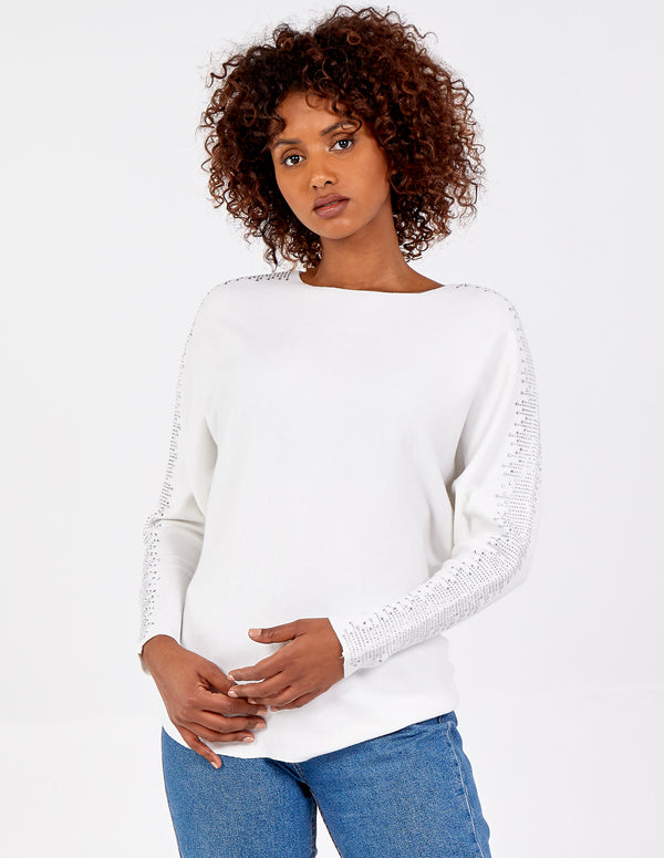 CARMEN - Diamante Sleeves Batwing Top