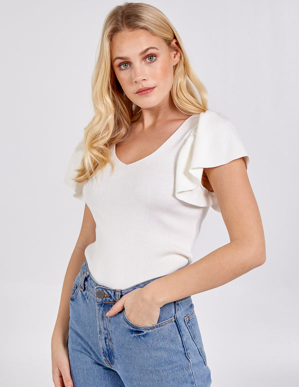 ORLAITH - Flared Sleeve Ribbed Top