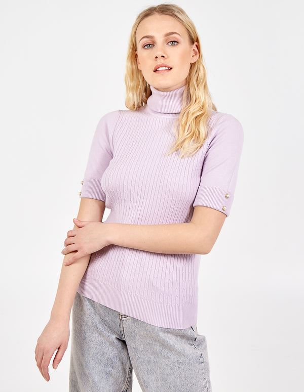 MINA - Cable Knit Roll Neck Top