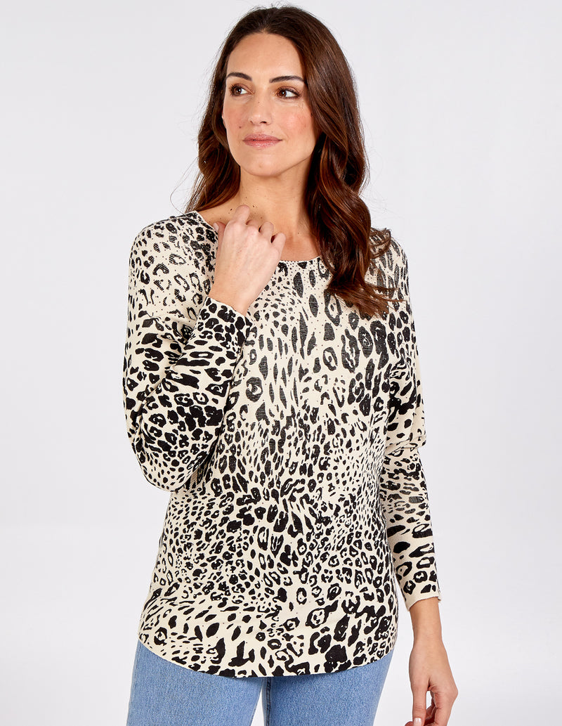 DARCEY - Animal Print Oversized Batwing Top