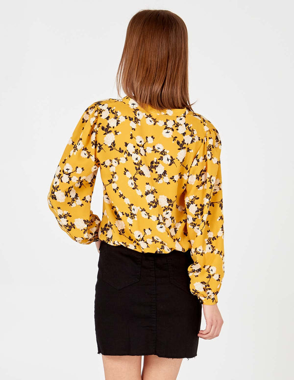 ALEXIA - Floral Print Button Through Tie Front Mustard Blouse