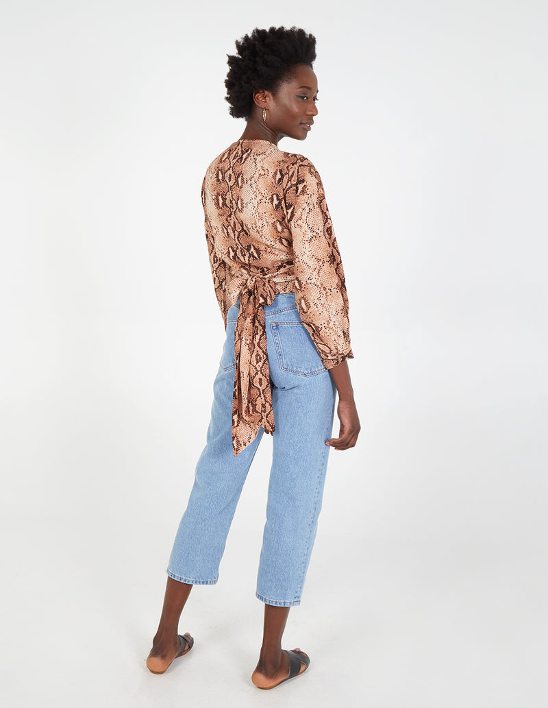 ORABELLA - Long Sleeve Wrap Snake Print Top