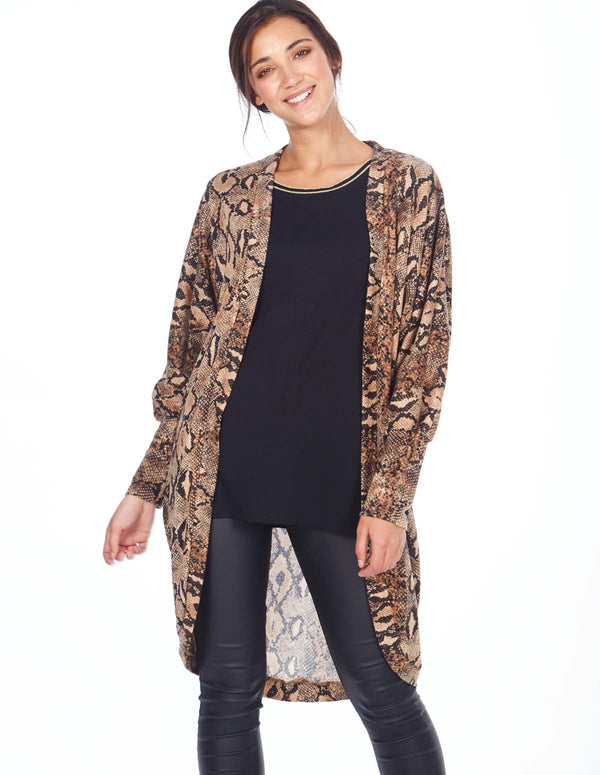 ANTHEA - Brown Snake Print Long Buttonless Kimono