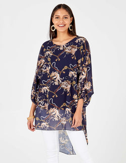 JADE - Chiffon Chain Print Navy Top