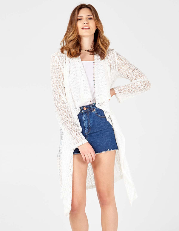 RENEE - Lace White Open Waterfall cardigan