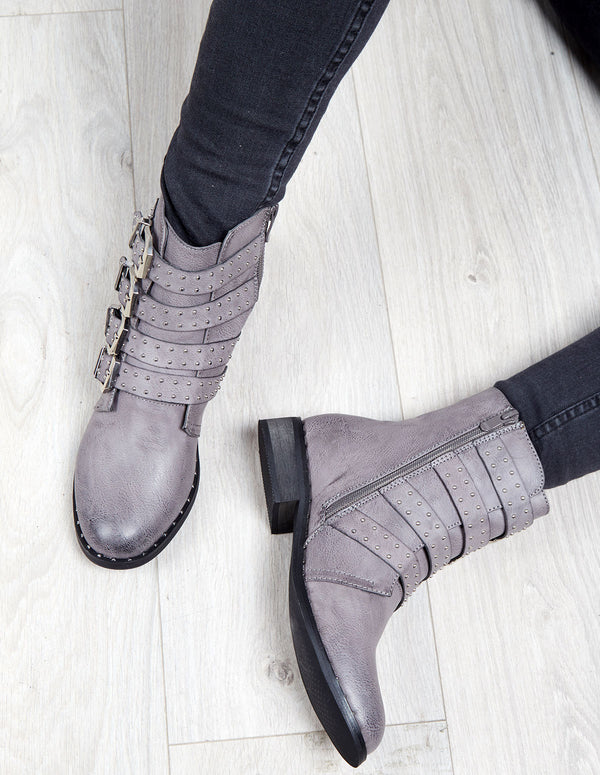 MARIEL - Buckle Studded Biker Grey Boots