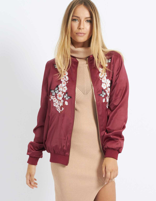 BELINI - Butterfly Blossom Embroidered Bomber