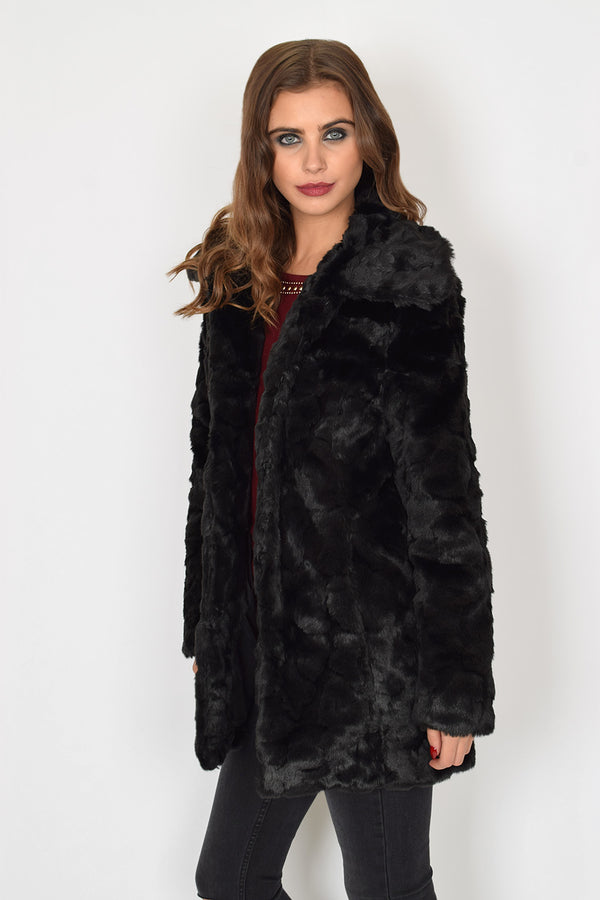 AFTON - Black Faux Fur Coat