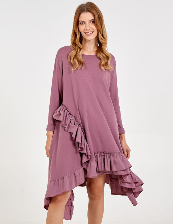 LILLA - Long Sleeve Frill Dress