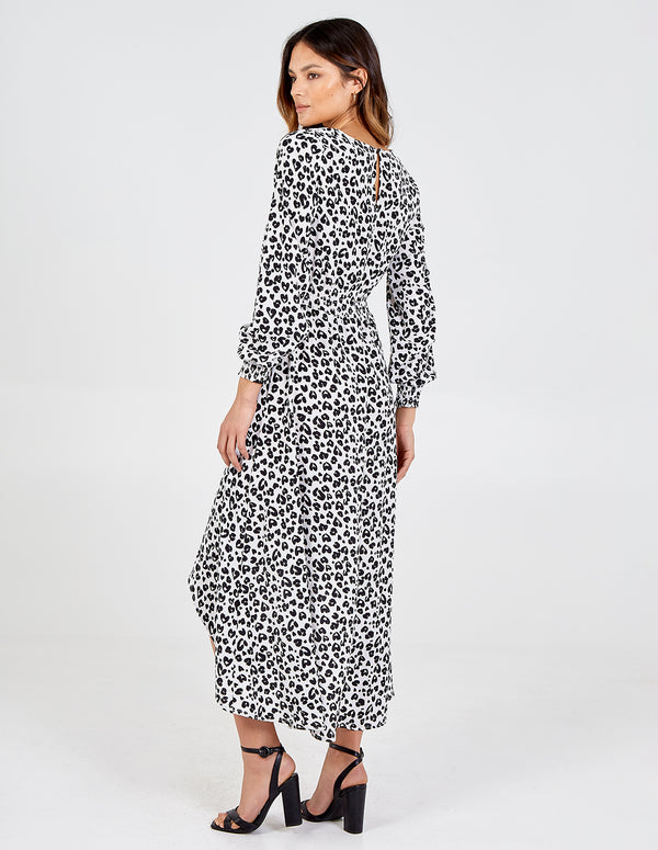 AILA - Hi-Low Shirring Waist Midi Dress