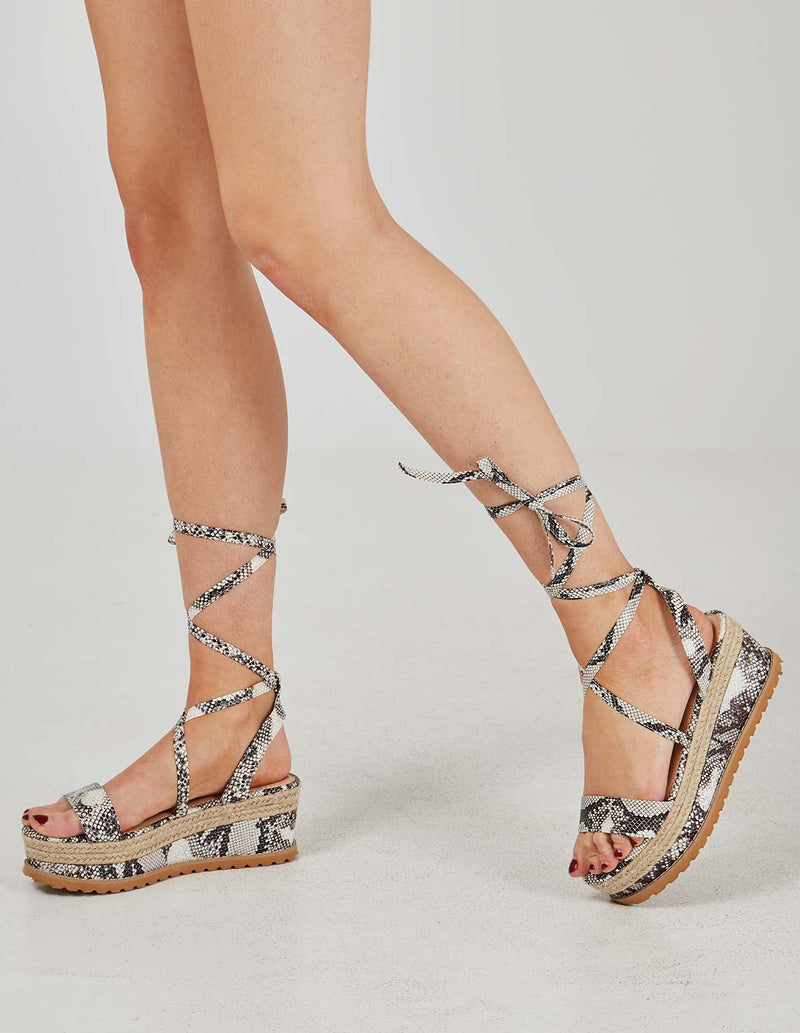 KINSLEY - Lace Up Snakeskin Print Wedges