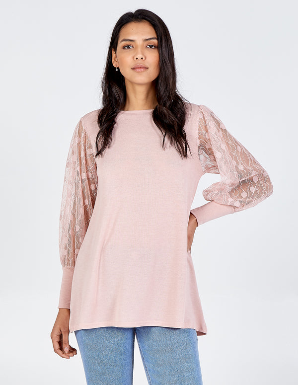 SARAH - Square Neck Lace Long Sleeve Top
