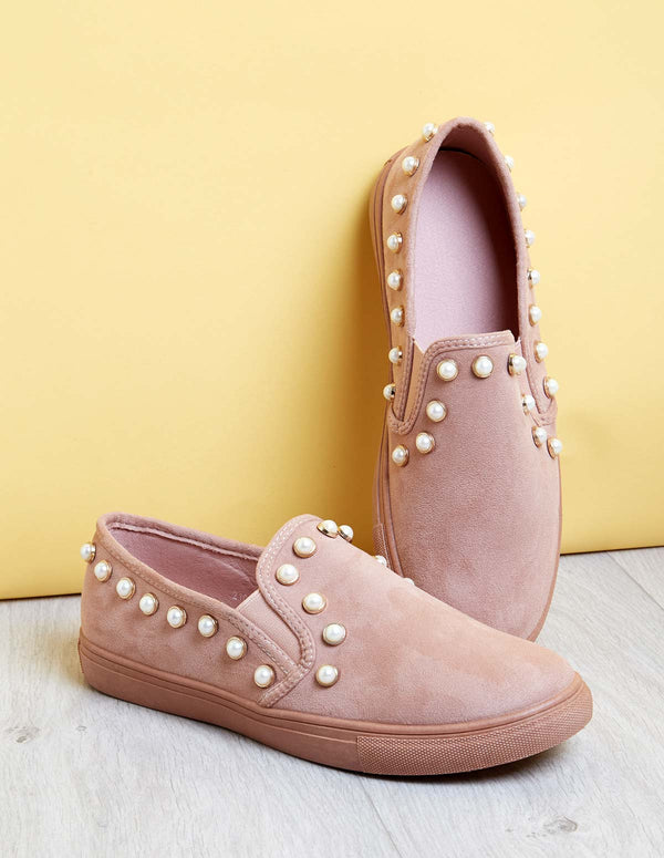 NAOKO - Suede Pearls Pink Trainers