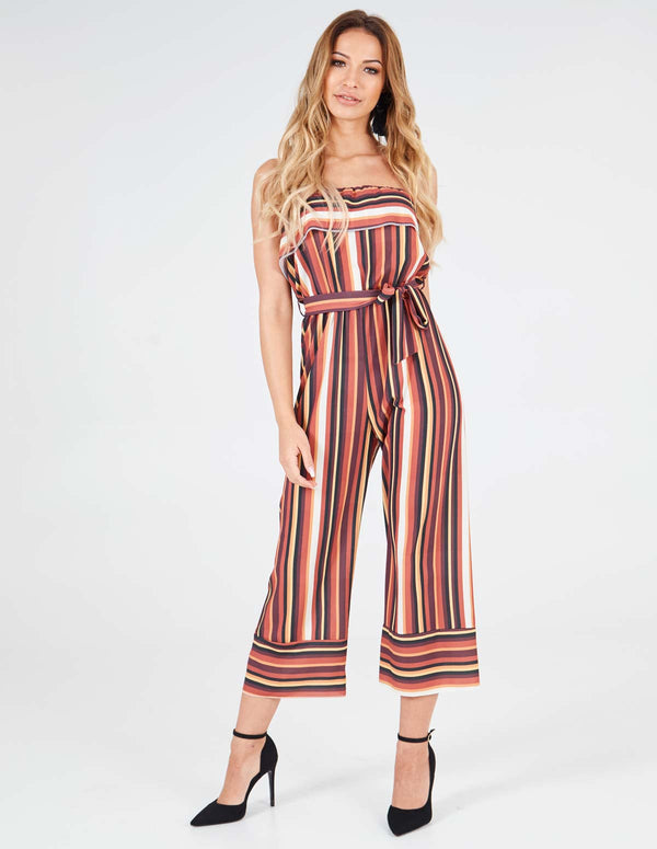 DIVINA - Layered Top Strapless Multi Striped Jumpsuit