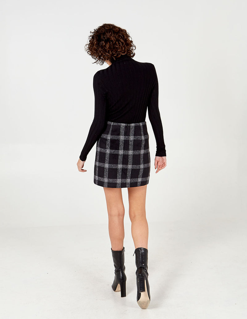 HALLIE - Zip Pocket Checked Mini Skirt