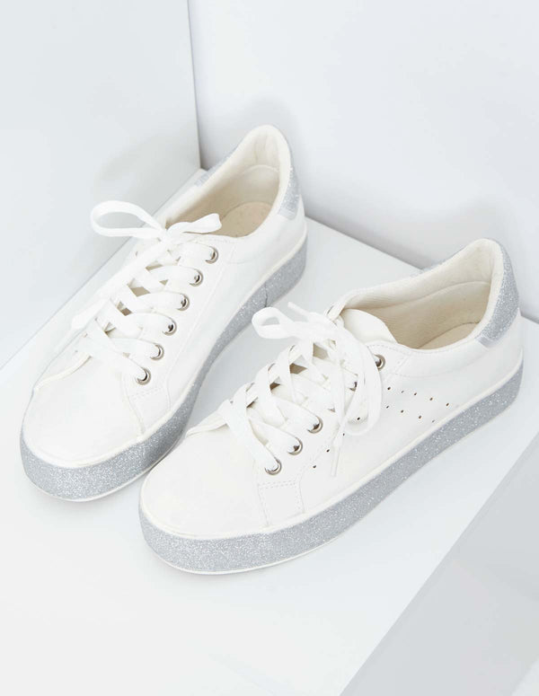 NELDA - Lace Up Sparkly White Trainers