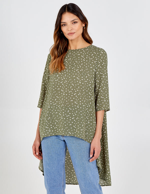 LIBBY - High-Low Hem Tie Back Top