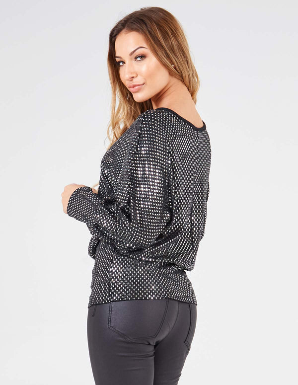 SALENA - Long Sleeve Batwing Mirror Black Top
