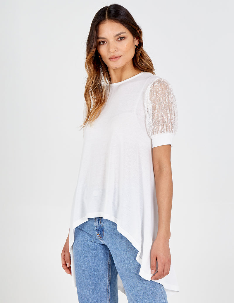 ESME - Lace Puff Sleeve High-Low Top