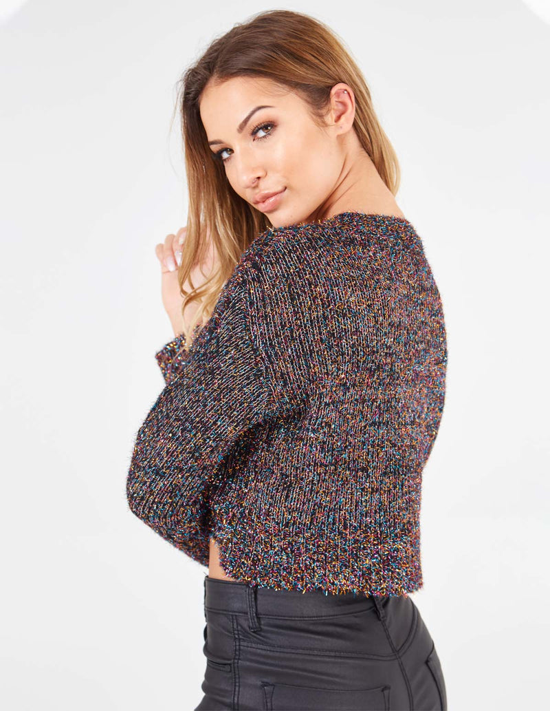 OLYMPIA - Rounded Neck Cropped Multi Jumper