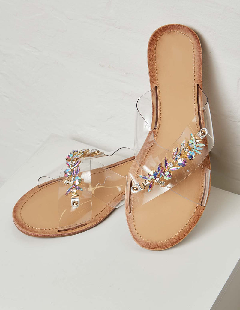 MOLLY - Embellished Perspex Silver Flats