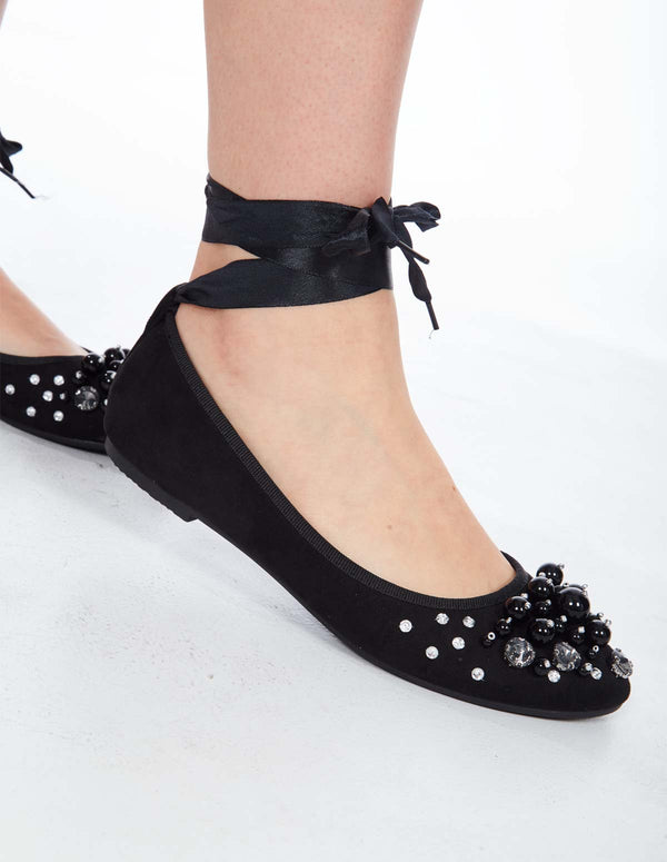 SEANA - Diamante Lace Up Black Ballet Flats.