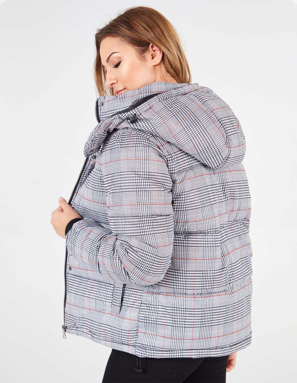 OLESIA - Hooded Check Puffer Jacket