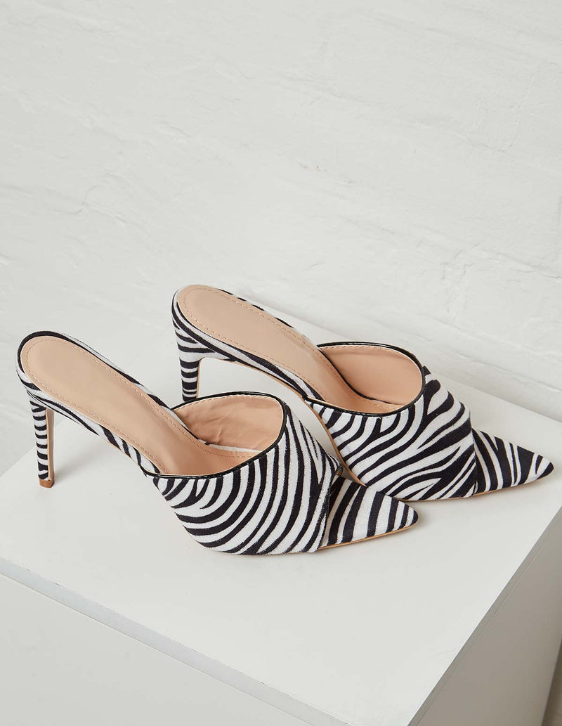 EARLA - Open Toe High Heel Zebra Print Mules