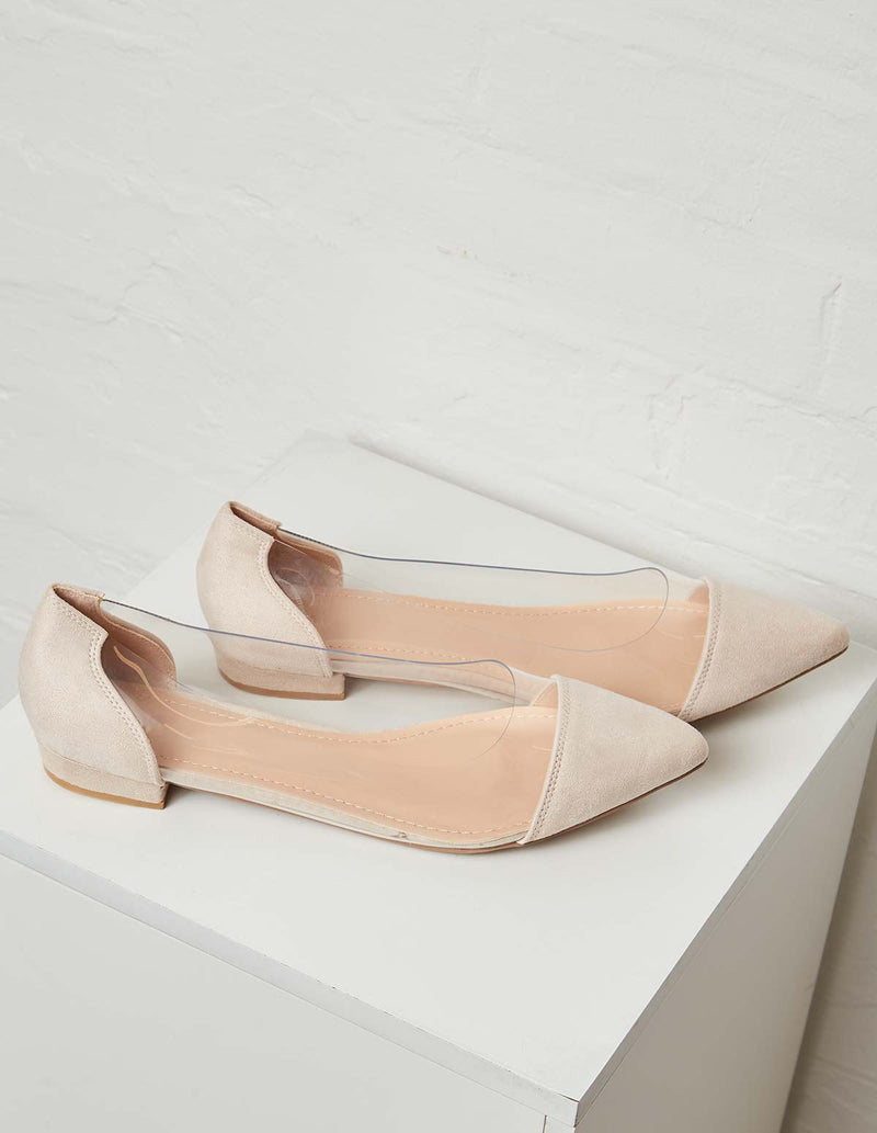 DOLLY - Suede Perspex Beige Pumps