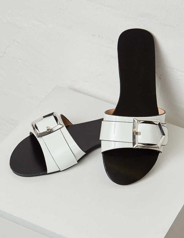 SONIA - Buckle Detail Strap White Flat