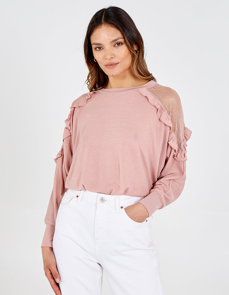 ELOUISE - Mesh Shoulder Frill Sleeve Top