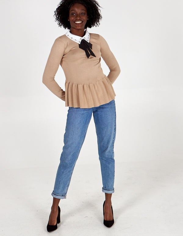 ATHENA - Camel Embellished Collar Peplum Top