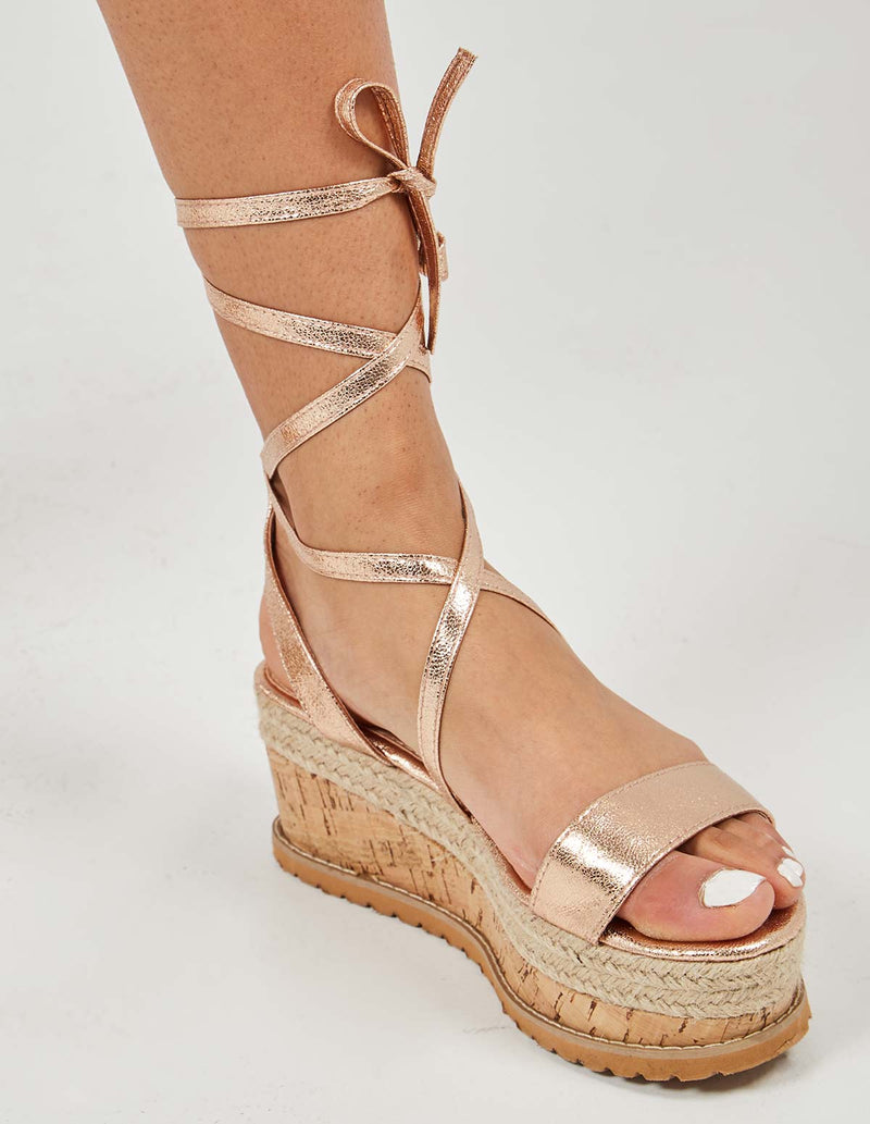 KINSLEY - Lace Up Champagne Wedges